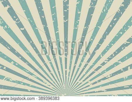 Sunlight Retro Faded Grunge Background. Faded Blue And Beige Color Burst Background.