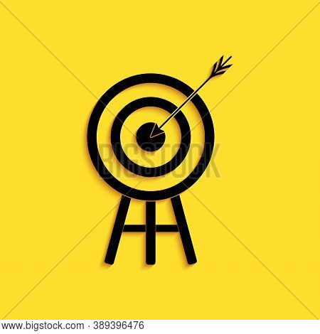 Black Target With Arrow Icon Isolated On Yellow Background. Dart Board Sign. Archery Board Icon. Dar