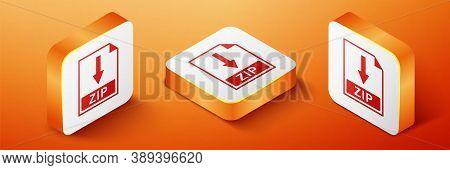 Isometric Zip File Document Icon. Download Zip Button Icon Isolated On Orange Background. Orange Squ