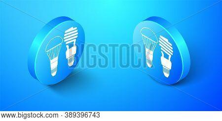 Isometric Economical Led Illuminated Lightbulb And Fluorescent Light Bulb Icon Isolated On Blue Back
