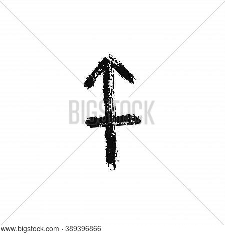 Vector Zodiac Sign. Sagittarius Handdrawing By Paint Brush. Horoscope Isolated Logo For 2021. Black