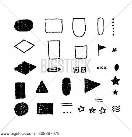 Set Of Grunge Rubber Texture Stamp .vector Simple Flat Illustration. Different Shapes And Lines. Bla