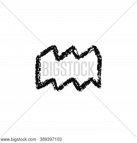 Vector Zodiac Sign. Aquarius Handdrawing By Paint Brush. Horoscope Isolated Logo For 2021. Black Ill