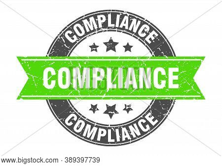 Compliance Round Stamp With Green Ribbon. Compliance