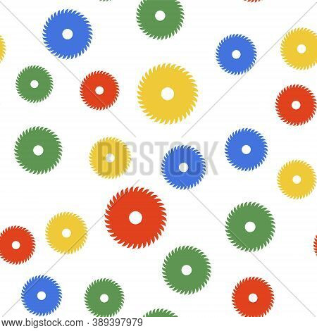 Color Circular Saw Blade Icon Isolated Seamless Pattern On White Background. Saw Wheel. Vector