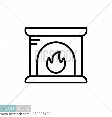 Fireplace Vector Icon. Winter Sign. Graph Symbol For Travel And Tourism Web Site And Apps Design, Lo