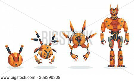 Robots. Evolution Of Robots Concept. Vector Isometric Robots From Simple Single-task Machine To Mode