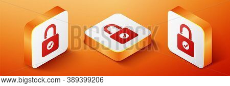 Isometric Open Padlock Icon Isolated On Orange Background. Opened Lock Sign. Cyber Security Concept.