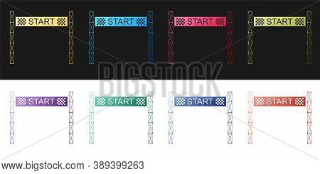 Set Starting Line Icon Isolated On Black And White Background. Start Symbol. Vector