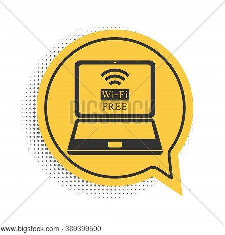 Black Laptop And Free Wi-fi Wireless Connection Icon Isolated On White Background. Wireless Technolo