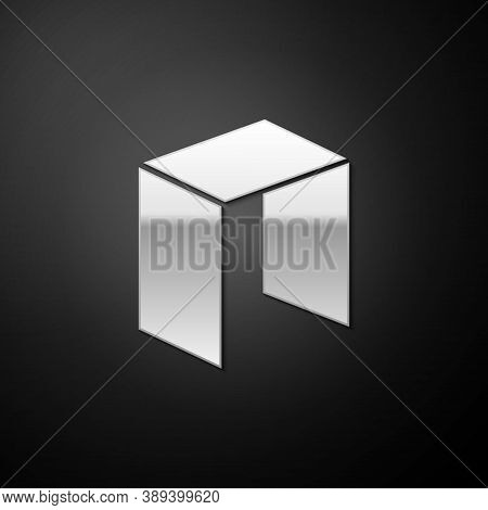 Silver Cryptocurrency Coin Neo Icon Isolated On Black Background. Physical Bit Coin. Digital Currenc