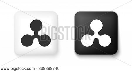 Black And White Cryptocurrency Coin Ripple Xrp Icon Isolated On White Background. Digital Currency.