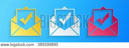 Paper Cut Envelope With Document And Check Mark Icon Isolated On Blue Background. Successful Email D