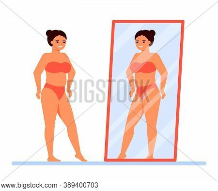 Body Positive. Happy Overweight Woman In Underwear Looks At Herself In Mirror. Satisfaction With You