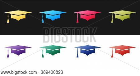 Set Graduation Cap Icon Isolated On Black And White Background. Graduation Hat With Tassel Icon. Vec