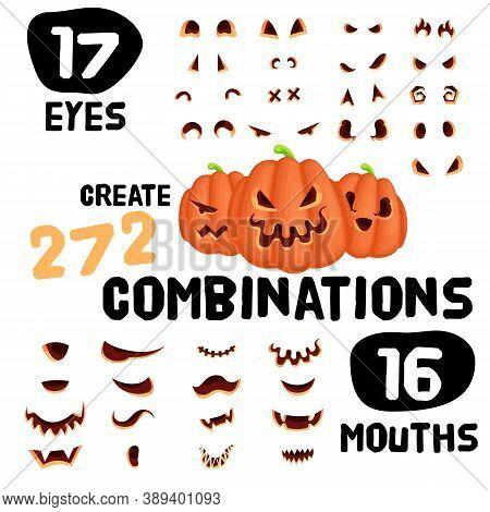 Halloween Pumpkin Cartoon Character Construstor Set. Vector Design Kit For Halloween Invitations And