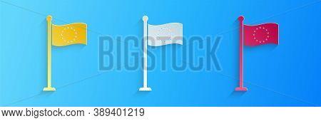 Paper Cut Flag Of European Union Icon Isolated On Blue Background. Eu Circle Symbol. Waving Eu Flag