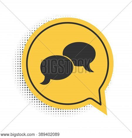 Black Blank Speech Bubbles Icon Isolated On White Background. Faq Sign. Copy Files, Chat Speech Bubb