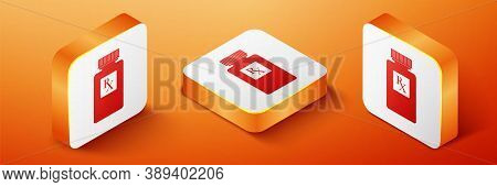 Isometric Pill Bottle With Rx Sign And Pills Icon Isolated On Orange Background. Pharmacy Design. Rx