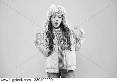 Narcissist Fashionista. Child Long Hair Soft Fur Hat Enjoy Softness. Winter Fashion Concept. Warm Ha