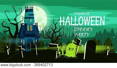 Happy Halloween Lonely Scary Abandoned Mansion Cemetery Graves. Vector Isolated Cartoon Style