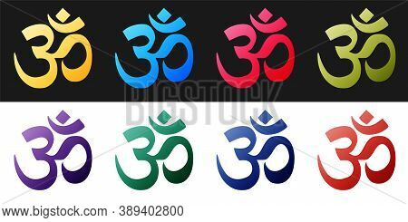 Set Om Or Aum Indian Sacred Sound Icon Isolated On Black And White Background. The Symbol Of The Div