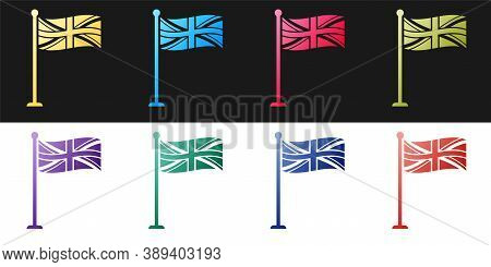 Set Flag Of Great Britain On Flagpole Icon Isolated On Black And White Background. Uk Flag Sign. Off