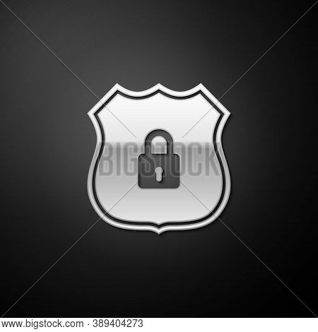 Silver Shield Security With Lock Icon Isolated On Black Background. Protection, Safety, Password Sec