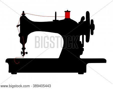 An illustration of a vintage sewing machine icon symbol
