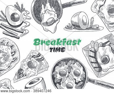 Breakfasts And Brunches Top View. Food Menu Cover Design. Vintage Hand Drawn Sketch Vector Illustrat