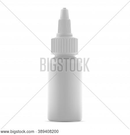 Nasal Dropper Bottle Isolated Mockup. Liquid Medicine Drug Container Mockup. Small Plastic Or Glass