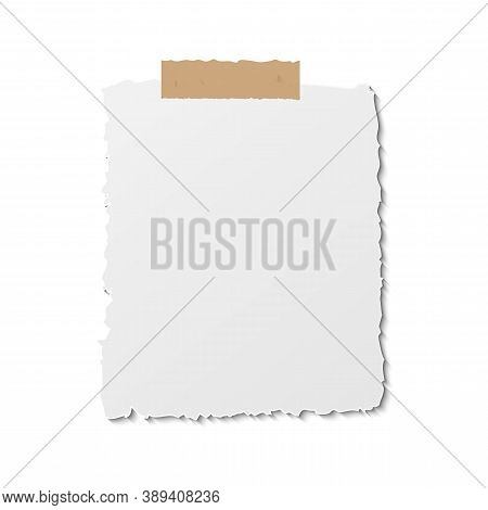 Paper Reminder Post Note. Notice Sheet Template On Stick Tape. Postit Annotation Blank. Notepaper St