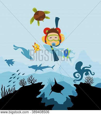 Diver Explorers And Reef Underwater Wildlife. Silhouette Of Coral Reef With Fish And Scuba Diver On