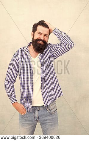 Beard Fashion And Barber Concept. Barbershop Model Concept. Bearded And Happy. Man Bearded Hipster S