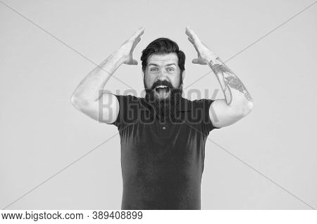 Crazy Fail. Crazy Hipster Keep Mouth Open Yellow Background. Bearded Man With Crazy Look. Gesturing