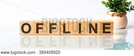 Offline Motivation Text On Wooden Blocks Business Concept White Background. Front View Concepts, Flo