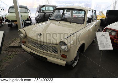 Istanbul, Turkey - September 20, 2020: 1985 Trabant 601 In Rahmi M. Koc Industrial Museum. Koc Museu