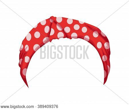 Retro Headband For Woman. Red Bandana For Hairstyle. Windy Hair Dressing. Mockup Of Decorative Hair