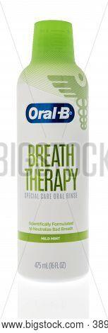 Winneconne, Wi - 6 October 2020:  A Bottle Of Oral B Breath Therapy Special Care Oral Rinse Mouthwas