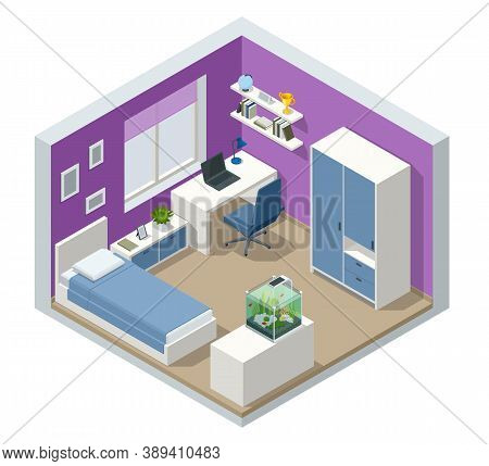 Isometirc Modern Teenager Room Interior With Comfortable Bed. Idea For Interior Decor. Interior Of M