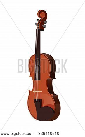 Musical Instruments. Classical Music Violin. Beautiful Realistic Wooden Violin In Cartoon. Style Iso