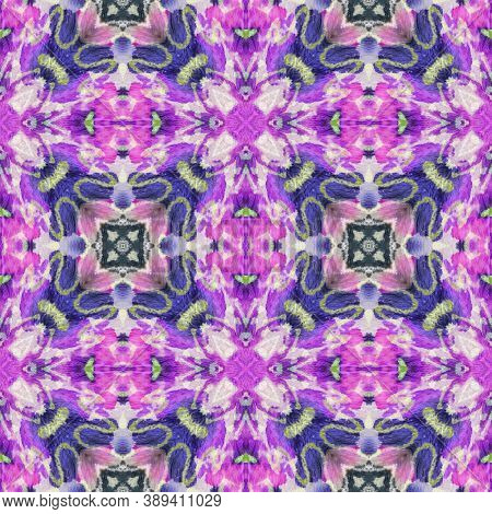 Aztec Rugs. Abstract Shibori Design. Pink And Blue Seamless Texture. Repeat Tie Dye Rapport. Ethnic