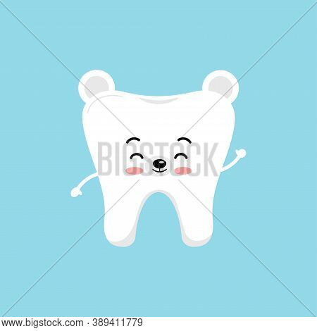 Cute Christmas Tooth In White Bear Costume Icon Isolated On Background. Happy New Year Polar Bear Te