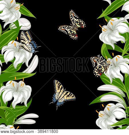 Pattern With Butterflies And Lilies.white Lilies And Butterflies In A Pattern On A Black Background.