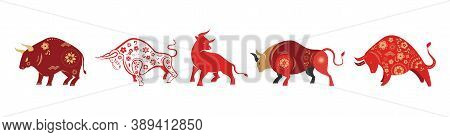 Chinese New Year 2021 Year Of The Ox, Chinese Zodiac Symbol, Chinese Text Says: Happy Chinese New Ye