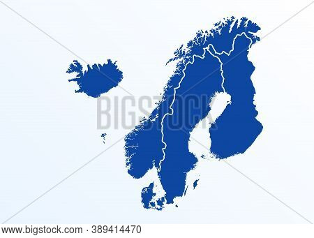 Scandinavia Map. Norway, Sweden, Finland, Denmark, Iceland And Faroe Islands. Nordic Countries Map.