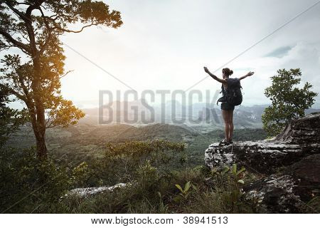 Young hiker with backpack standing with raised hands on a cliff's edge and looking over wild tropical valley