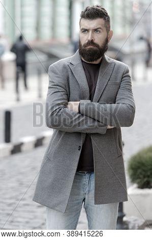 Stylish Beard And Mustache Fall And Winter Season. Man Bearded Hipster Stylish Fashionable Coat. Bea