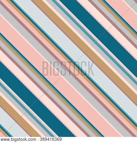 Diagonal Stripes Seamless Pattern. Simple Vector Texture With Thin And Thick Oblique Lines. Modern A