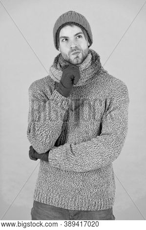 What Weather Is It Today. Guy Wear Warm Clothes. Male Knitwear Fashion. Men Knitted Cloth And Access